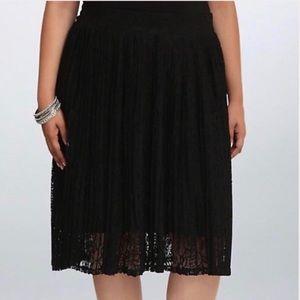 Torrid pleated lace midi skirt.